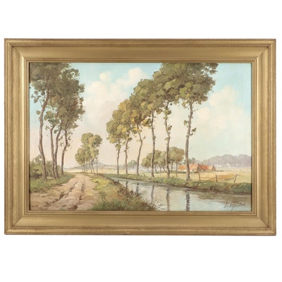 Riverside Landscape Oil Painting