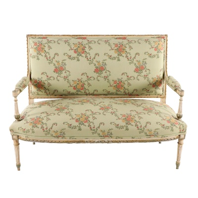 Louis XVI Style Paint Decorated Wood Upholstered Floral Motif Settee