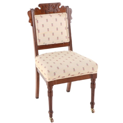 Victorian, Eastlake Style Walnut Side Chair, Late 19th Century