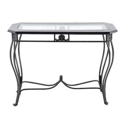 Metal Scrollwork, Ebony Wood Finish and Glass Top Console Table