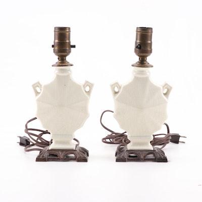 Converted Art Deco Period Ceramic Urn Vase Table Lamps, Circa 1930