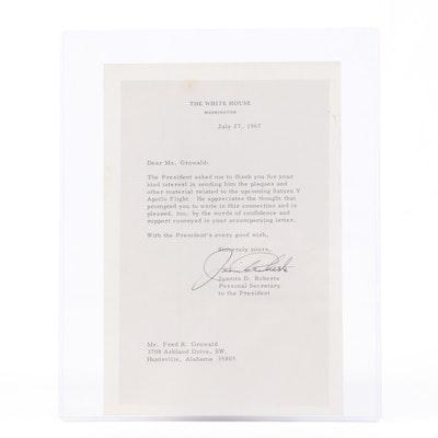 Juanita Roberts Presidential Secretary Signed Saturn V Apollo Flight Letter 1967