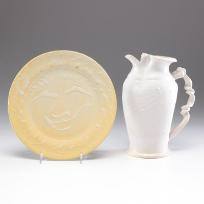 Larry Watson Thrown Porcelain Pitcher and Charger, Contemporary