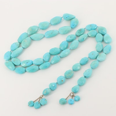 Hand Knotted Turquoise Beaded Sautoir Necklace