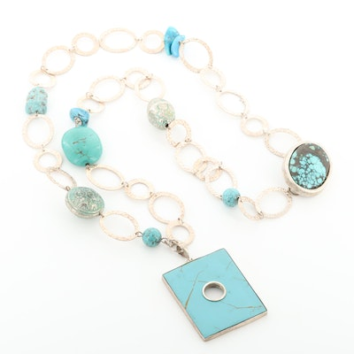 Turquoise, Magnesite and Imitation Turquoise Endless Square Pendant Necklace