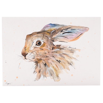 Angor Watercolor Painting of Rabbit