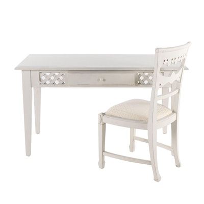 Contemporary Painted Lattice Detail Desk and Chair