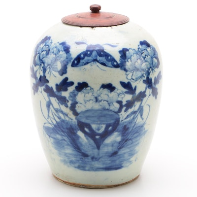 Chinese Blue and White Ceramic Melon Jar with Wooden Lid, Qing Dynasty