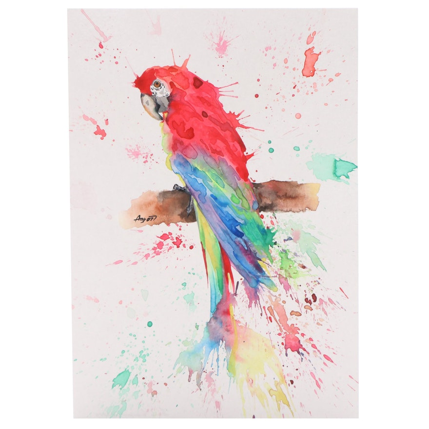 Angor Watercolor Painting of Parrot