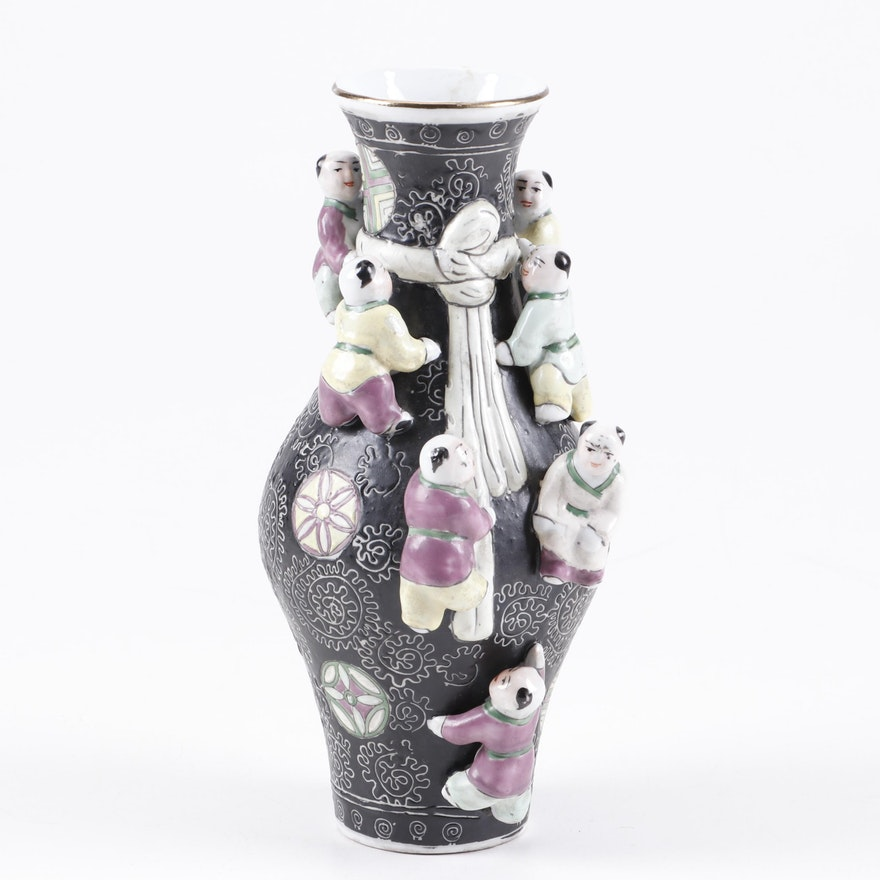 Chinese Enameled Ceramic Vase with Sculptural Figures