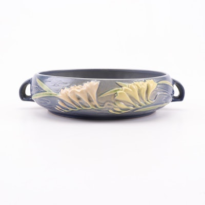 "Roseville Pottery ""Freesia"" Blue Console Bowl, Circa 1945"