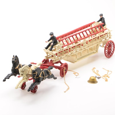 Reproduction Cast Iron Horse Drawn Fire Truck, 1970s