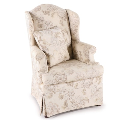 J. Royale Floral Motif Upholstered Wingback Chair