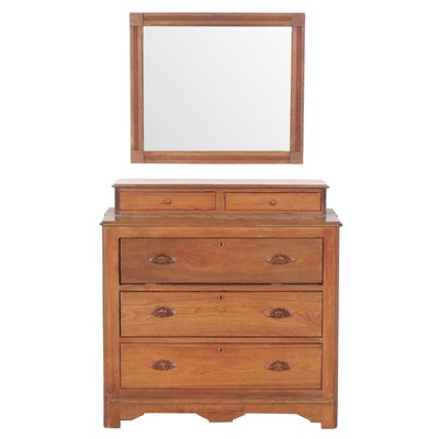 Victorian, Eastlake Walnut Dressing Table with Wall-Mounted Mirror, 1870s