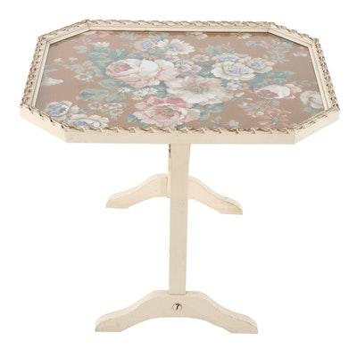 Painted Wood Floral Motif Upholstered Tilt-Top Table