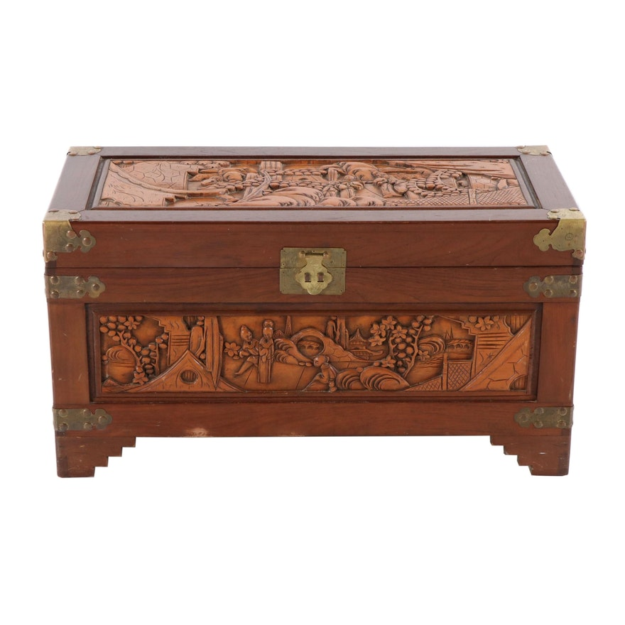 Asian Inspired Carved Mahogany and Brass Chest