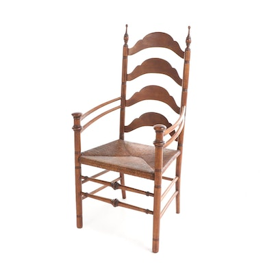 Walnut Ladder Back Armchair with Rushed Seat