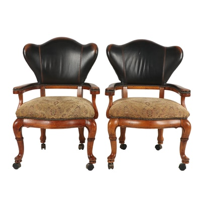 Pair of Thomasville Leather and Fabric Upholstered Armchairs