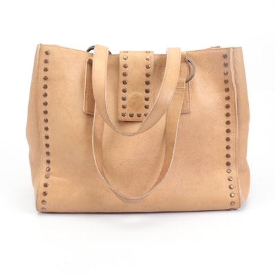 Falor Studded Tan Leather Tote Bag
