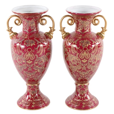 Oriental Company Foliate Motif Ceramic Vases