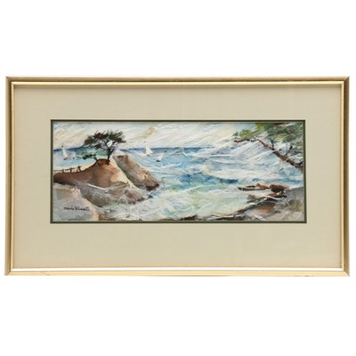 Marie Russell Watercolor Painting of Seascape