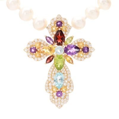 Sterling Silver Cultured Pearl Necklace with Multicolored Gemstone Cross Pendant