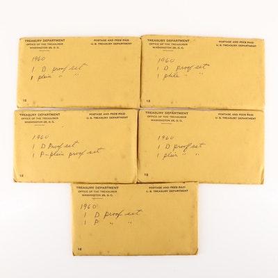 Five 1960 U.S. Mint Uncirculated Sets