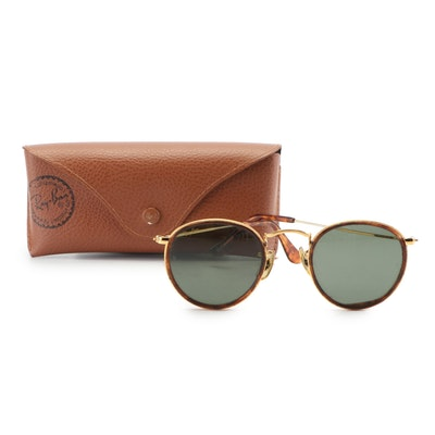 Ray-Ban B & L Round Metal and Faux Tortoise Polarized Sunglasses, Vintage