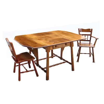 Mid Century Modern Maple Drop Leaf Table and Chairs