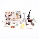 Miniature Furniture Including Stove, Baskets, Bird Feeders and More