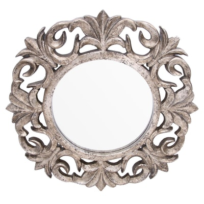 Contemporary Resin Wall Mirror with Antiqued Finish