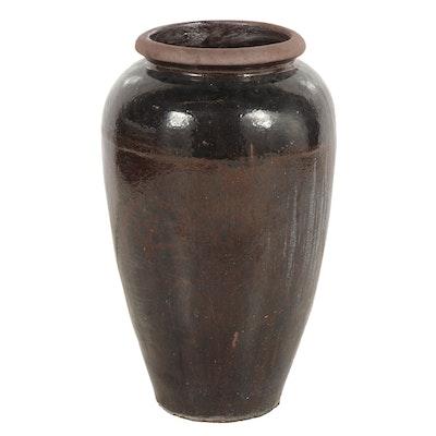 Large Outdoor Ceramic Planter with Glazed Finish