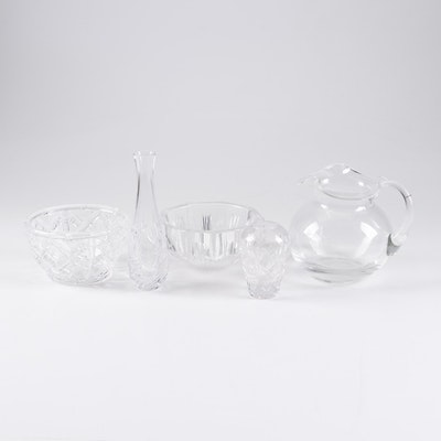 Tiffany & Co. Crystal Glass Vases, Bowls, and Pitcher
