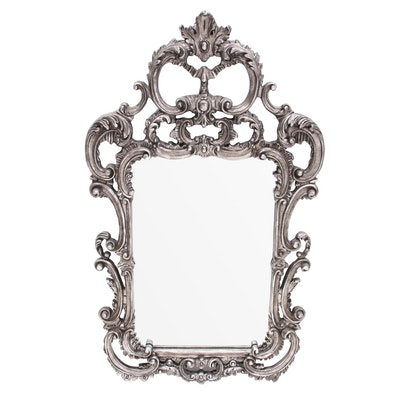 Baroque Style Wall Mirror with Scrolled Pediment