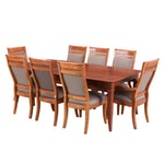 Henry Link Upholstered Dining Chairs with Lexington Cherry Stained Dining Table