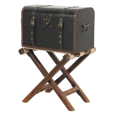Leather Trunk with Vintage Folding Stand