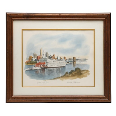 "Floyd Berg Hand-colored Halftone Print of River Scene ""Queen City"""