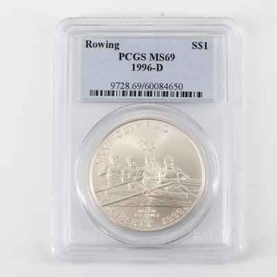 PCGS Graded MS69 1996-D Olympics Rowing Commemorative Silver Dollar