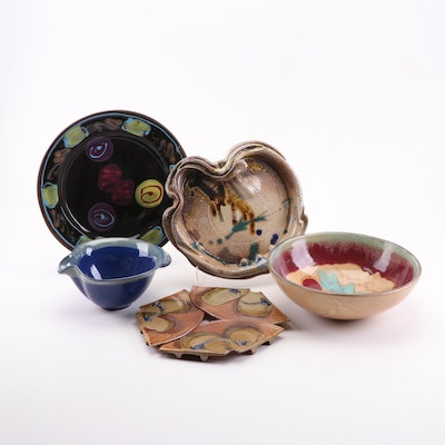 Thrown Stoneware and Porcelain Contemporary Serveware