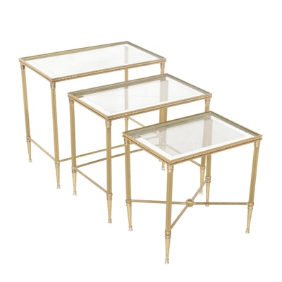 Three Contemporary Brass and Glass Nesting Tables