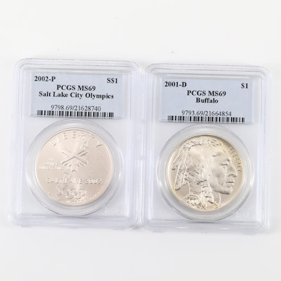 Two Commemorative Silver Dollars Including the 2001-D Buffalo