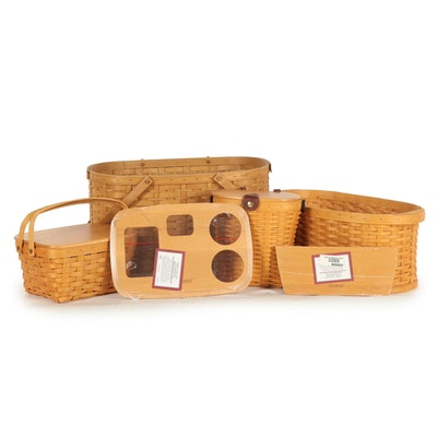 Longaberger Woven Baskets with Saddlebrook Purse Basket and Accessories