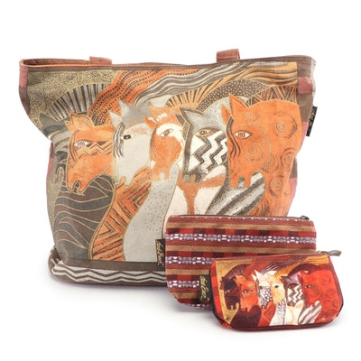 "Laurel Burch Canvas Tote and Cosmetic Bags with ""Moroccan Mares"" Pattern"