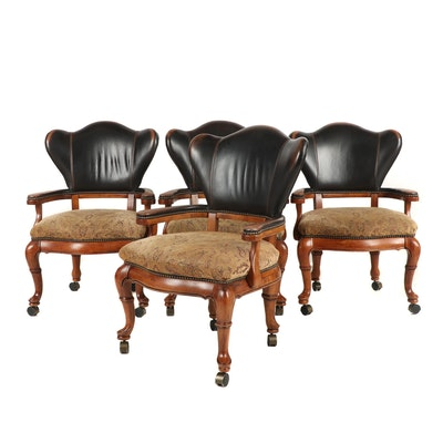 Four Thomasville Fabric and Leather Upholstered Armchairs with Casters