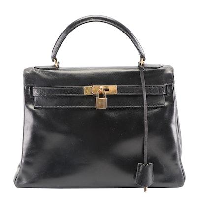 Hermès Kelly Retourne Noir Box Calf Leather Handbag, 1970s Vintage