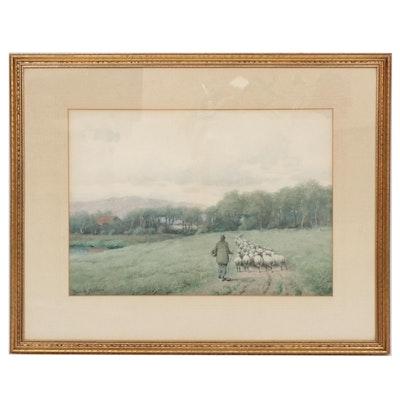 Royal Hill Milleson Pastoral Landscape Watercolor Painting