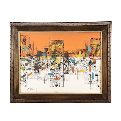 1974 Abstract Cityscape Oil Painting