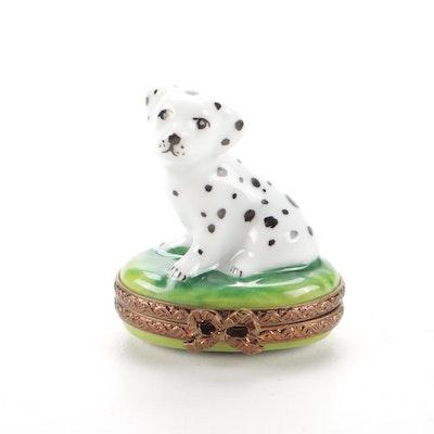 Parry Vieille Limoges Porcelain Dalmatian Trinket Box