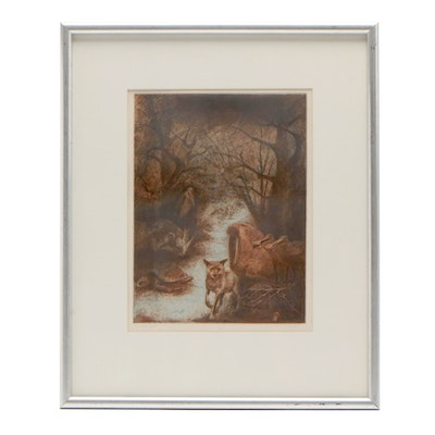 """Fred Lawyer Etching with Aquatint """"Animal Plate"""""""