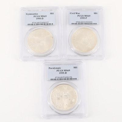 Three PCGS Graded MS69 U.S. Commemorative Silver Dollars